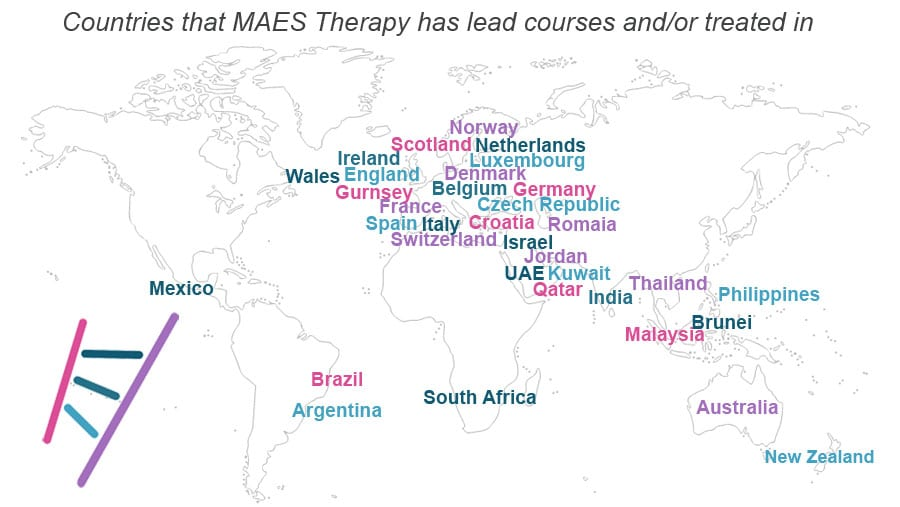 MAESWorldmappracticelocations Maes Therapy Movement Disorders - World map practice