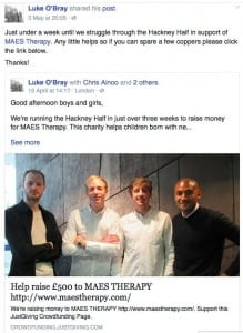 Luke O'Bray & colleagues - Hackney Half Marathon for MAES Therapy