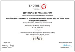 MAES Therapy presents a Workshop at the European Network of Occupational Therapy in Higher Education (ENOTHE) Conference 2017