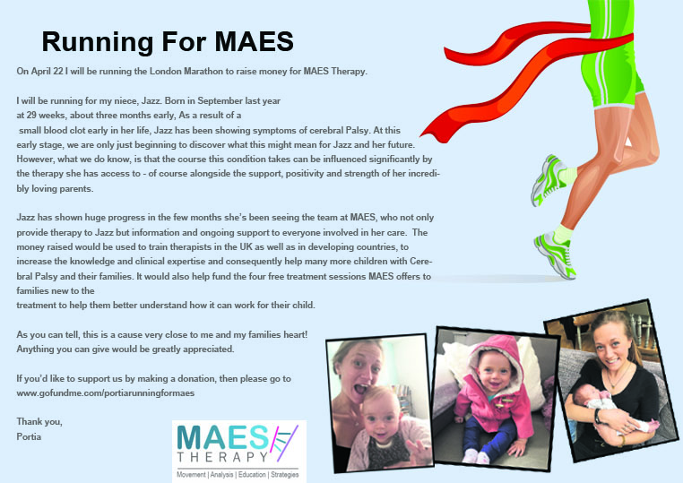Portia runs London Marathon 2018 for MAES Therapy