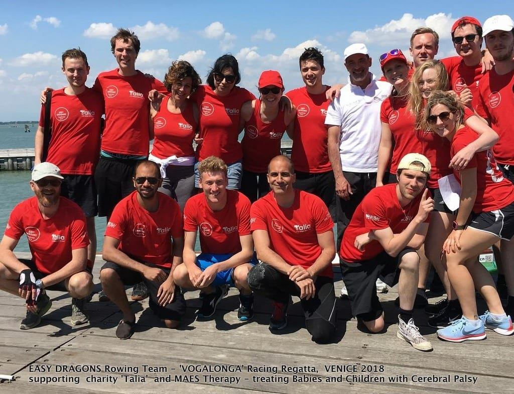 EASY DRAGONS Rowing Team at 'VOGALONGA' Racing Regatta, VENICE 2018 supporting MAES Therapy - pioneering treatment for Babies and Children with CP