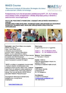 specialist MAES Course for paediatric therapists treating Cerebral Palsy in Poland
