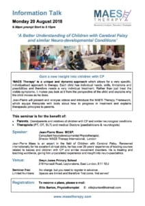 Talk for Parents & Paediatric Therapists - A Better Understanding of Cerebral Palsy and similar Neurodevelopmental Conditions