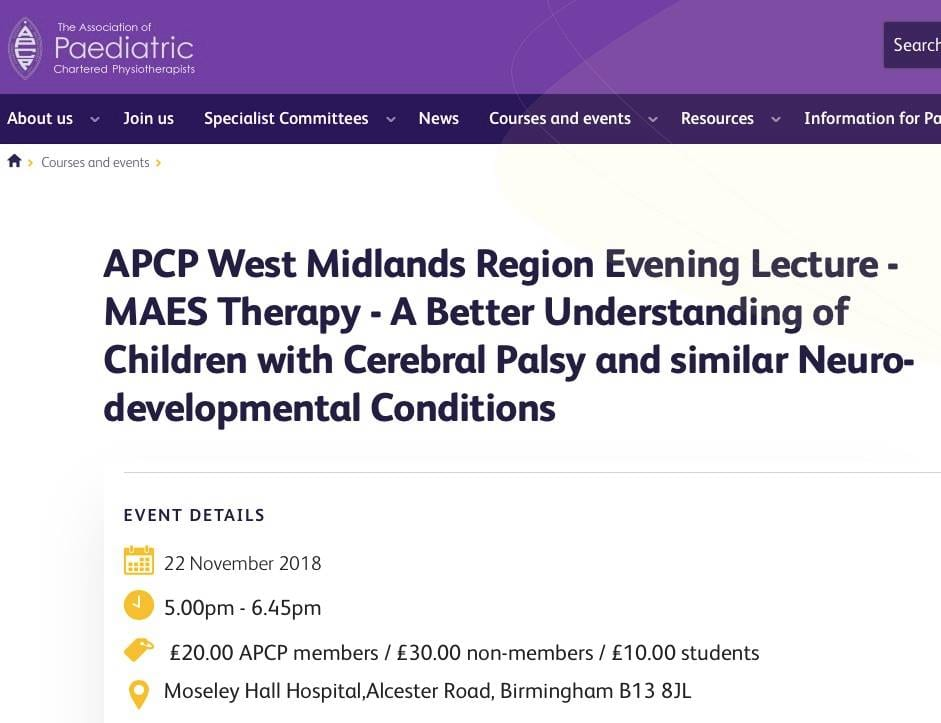 M.A.E.S. Therapy Presentation - APCP West Midlands Region Evening Lecture 22.11.18
