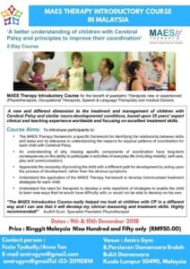 MAES Therapy Introduction Course - Malasia 2018 for Paediatric Therapists treating children with CP