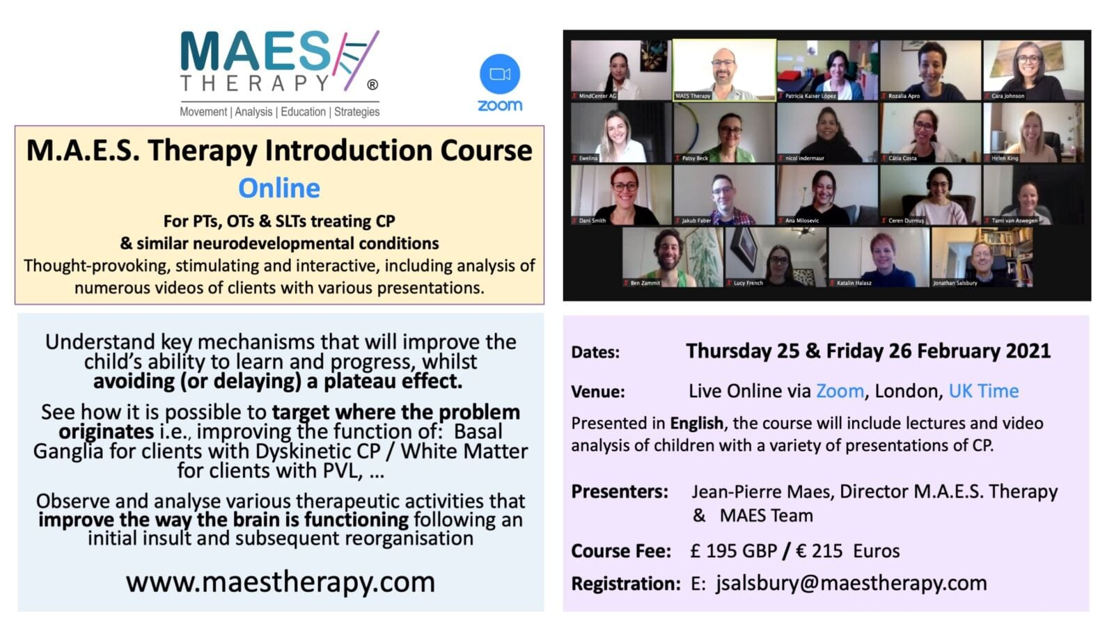 MAES Therapy Introduction Course - London 25-26 Feb.2021 for Paediatric Therapists treating children with CP