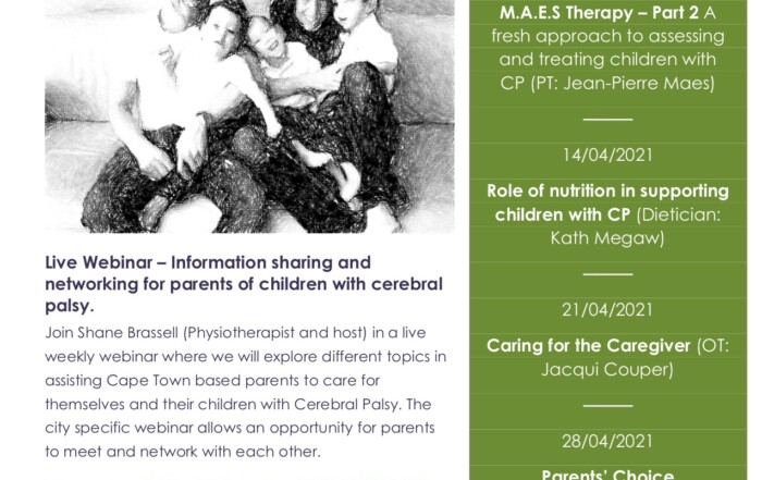 Shane Brassell MAES Therapist - Series of Live Webinars, Information sharing and networking for parents of children with CP
