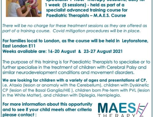 Children with CP for M.A.E.S. Course, London August 2021