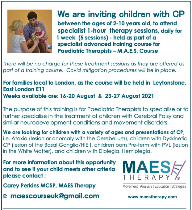 Children with CP for MAES Course - London 2021
